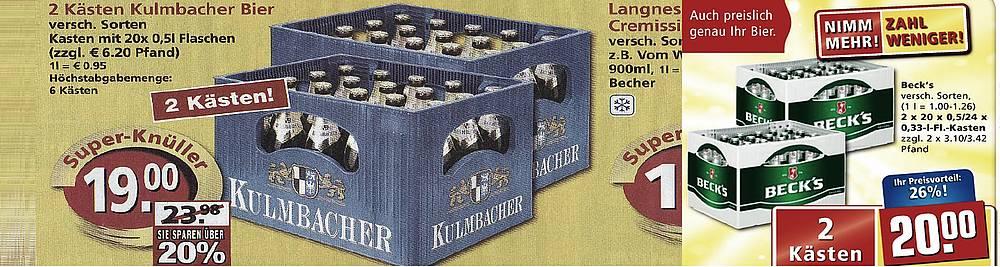 Preishammer Kulmbacher Becks Bitburger Inside Getränke
